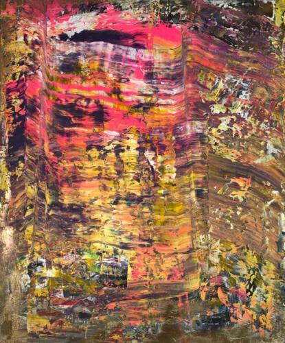 Goldenes Bild 100 cm mal 120 cm Acryl auf Leinwand 1100 Euro